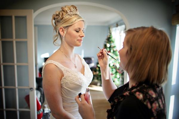 Bride having make-up done by Natasha Wiggins