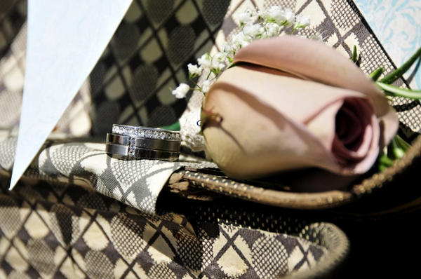 Wedding rings on suitcase