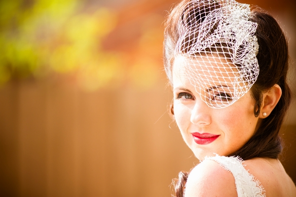 Vintage bride with birdcage veil