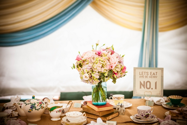 Table with vintage wedding items