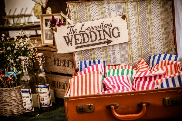 Suitcase with wedding sign