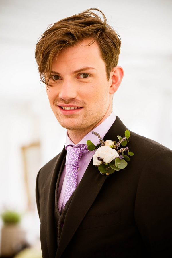 Groom with purple tie