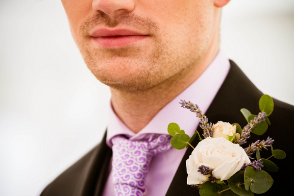 Groom's purple shirt and tie