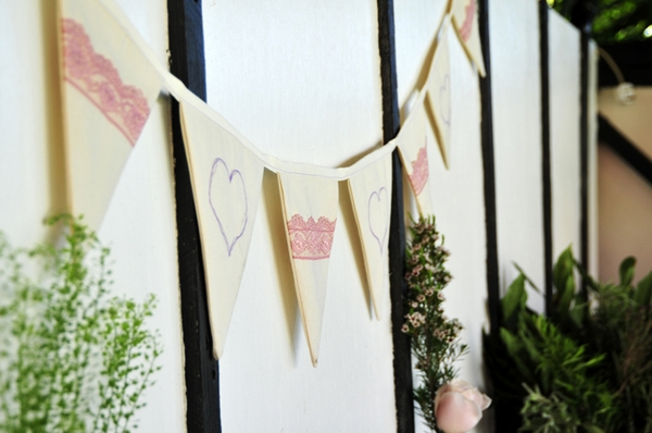 Bunting on wall