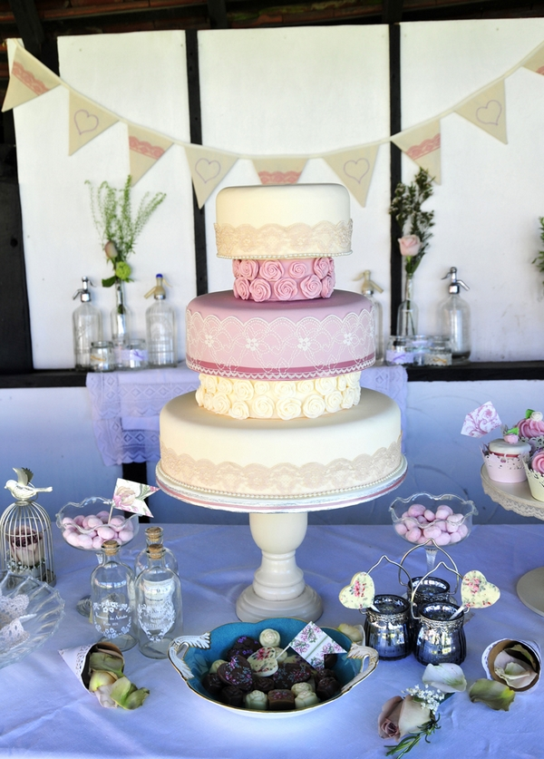 Grand pink tiered wedding cake