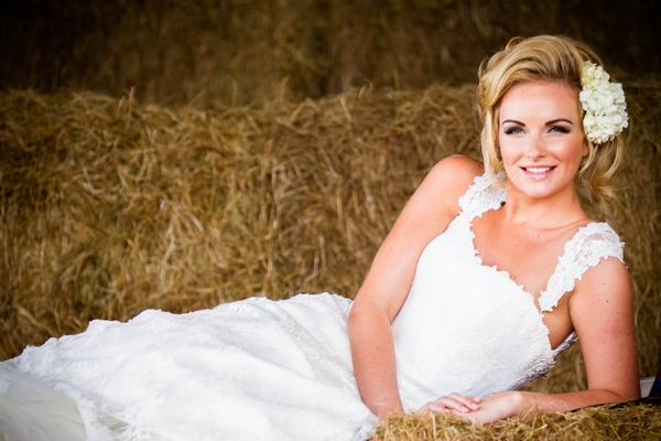 Bride on hay bales