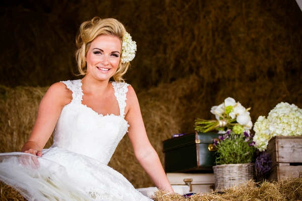 Bride on hay