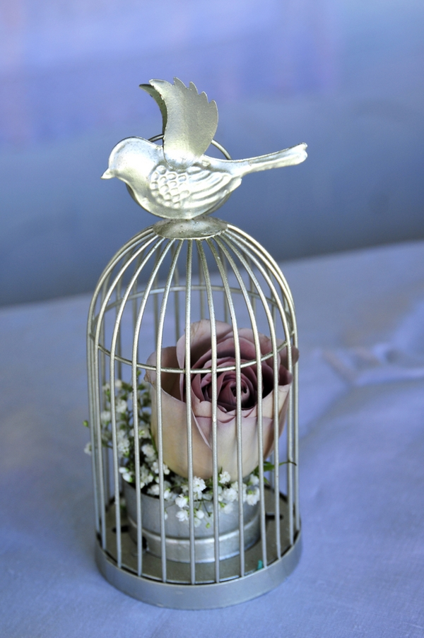 Birdcage with rose