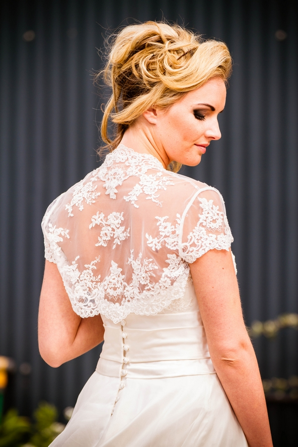 Detail on back of bride's lace dress