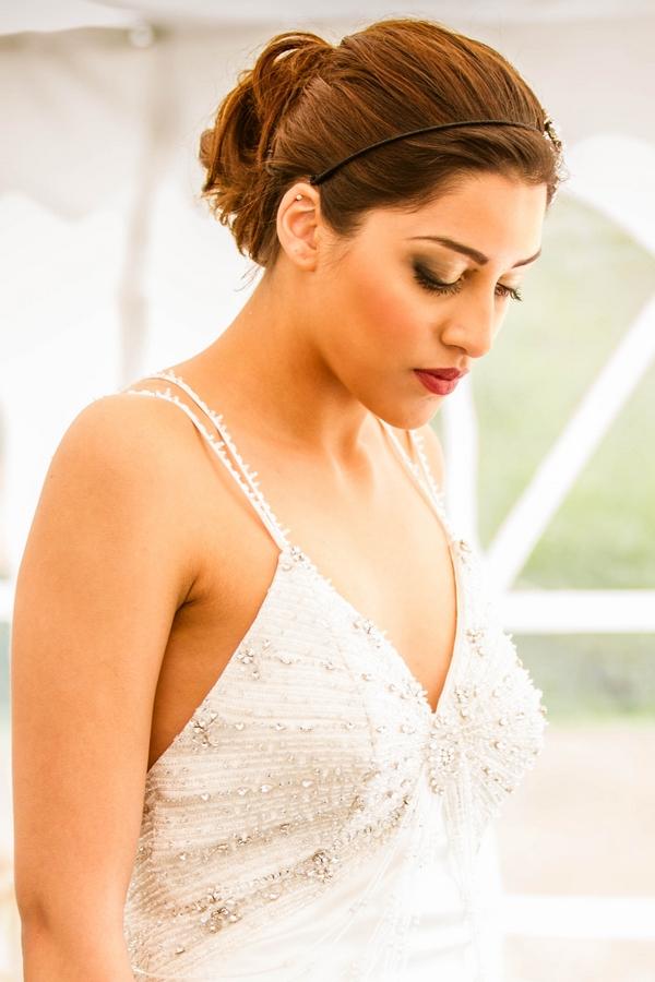 Detail on bride's dress