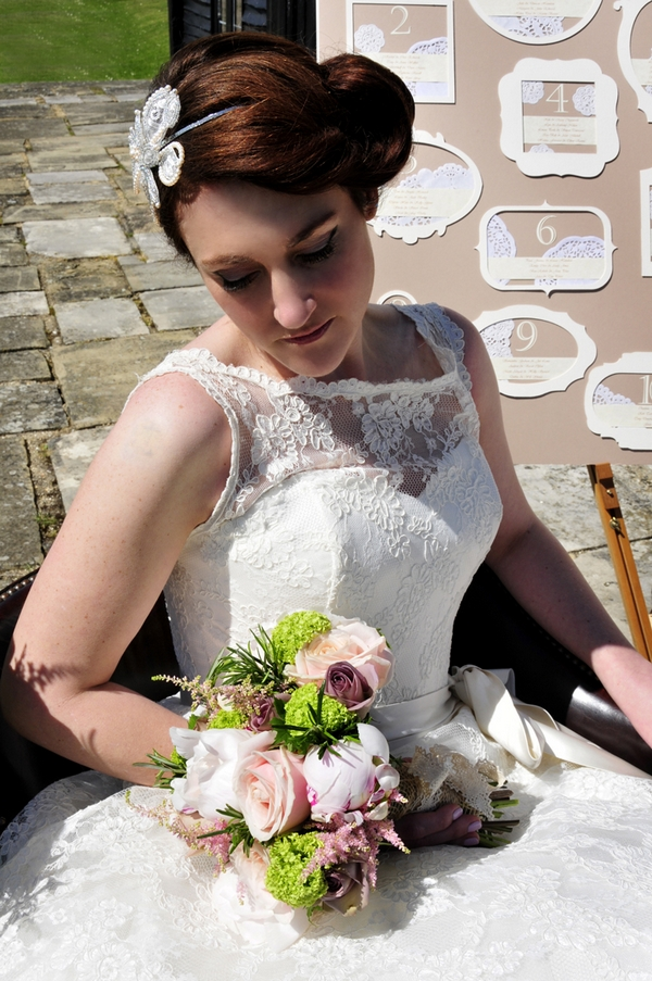 Bride in vintage lace wedding dress
