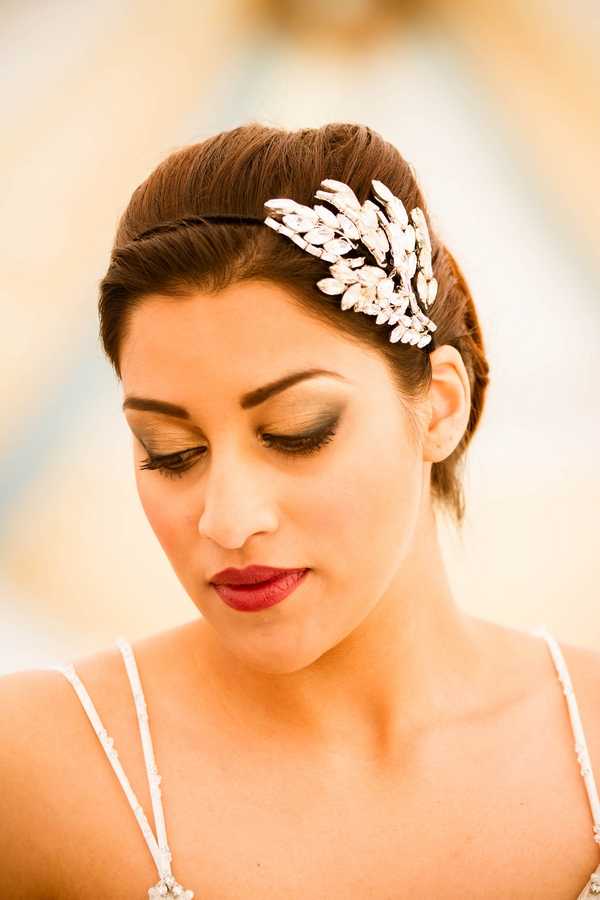 Bride wearing hair accessory