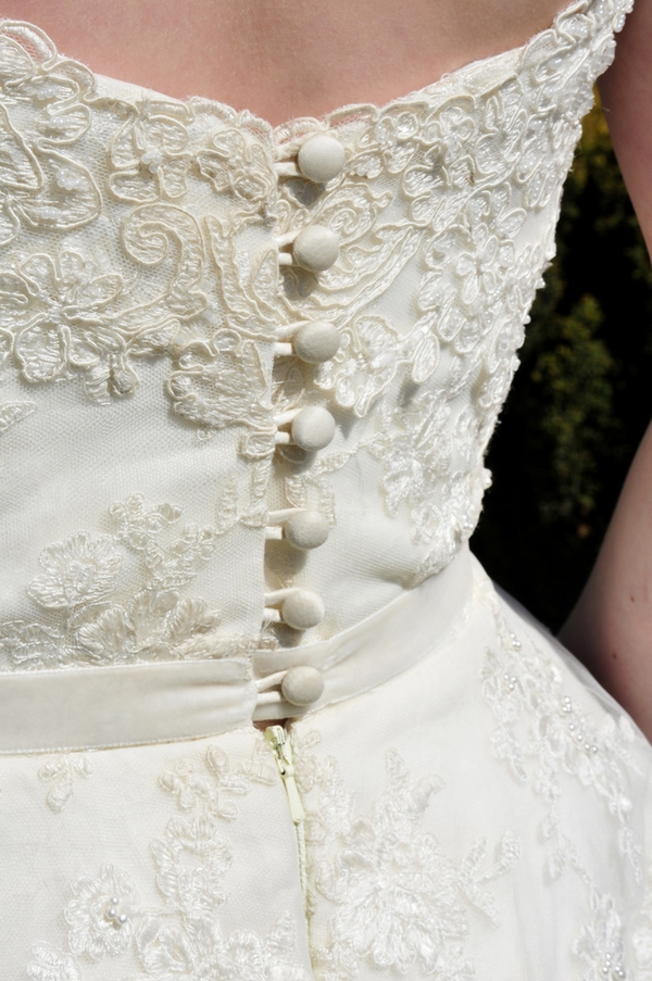 Back of bride's lace dress