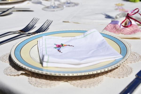 Napkin on vintage plate