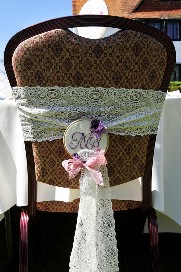 Chair with lace sash