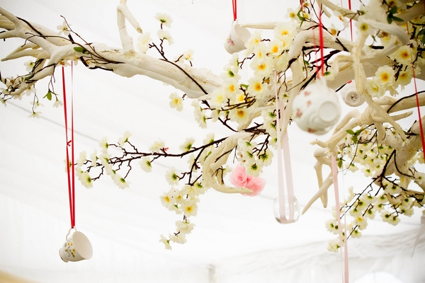 Wedding items hanging from tree branches