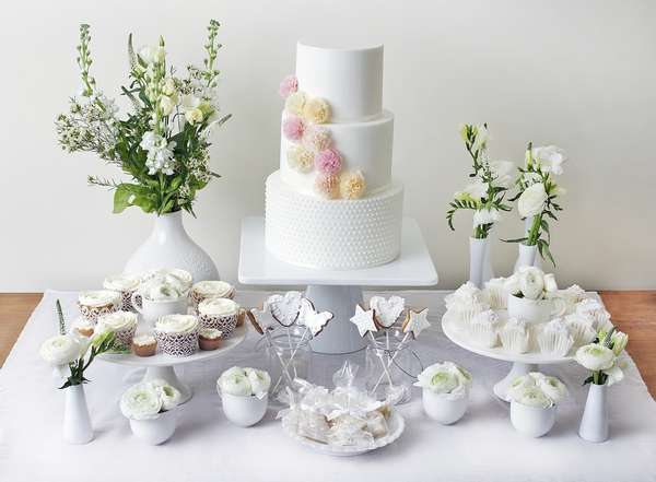 White Dessert Table with Alice Cake - The Abigail Bloom Cake Company