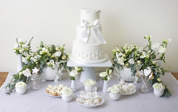 White Dessert Table with Chiara Cake - The Abigail Bloom Cake Company