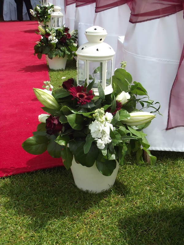 Wedding flowers and lantern