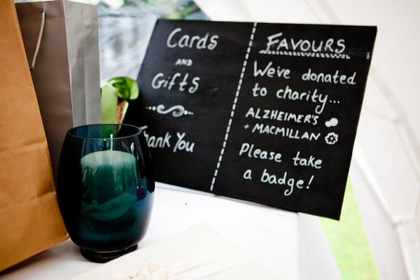 Chalkboard sign at wedding