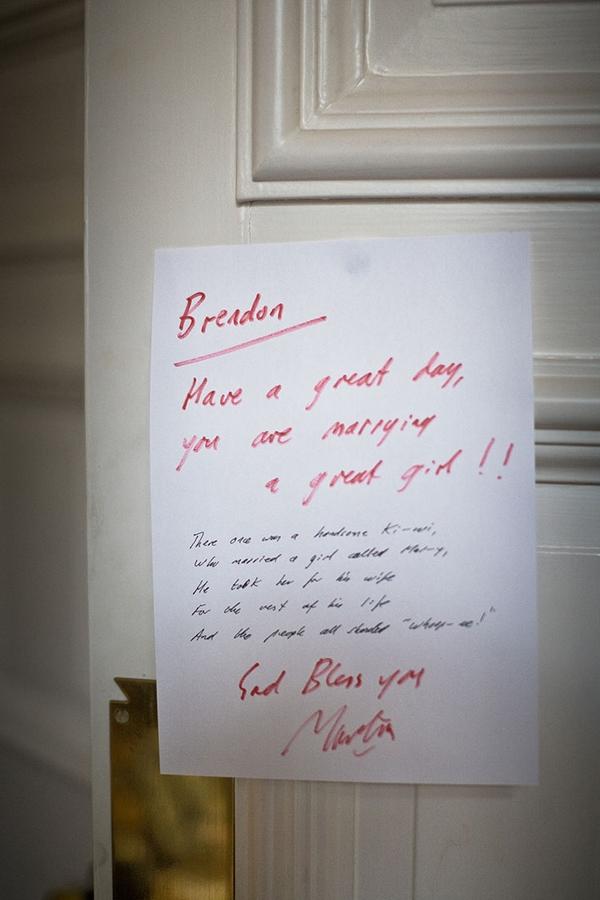 Note to groom on door