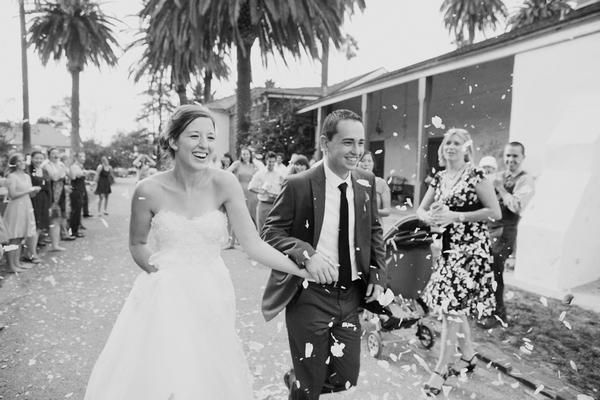 Bride and groom cofetti