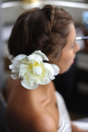 Bride with flower in her hair - Hair and Makeup by Claire Salter