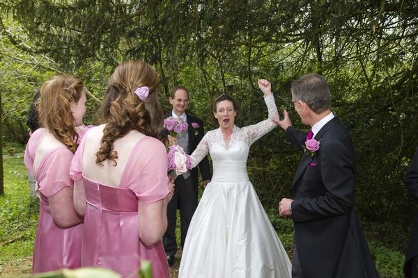 Bride puching the air