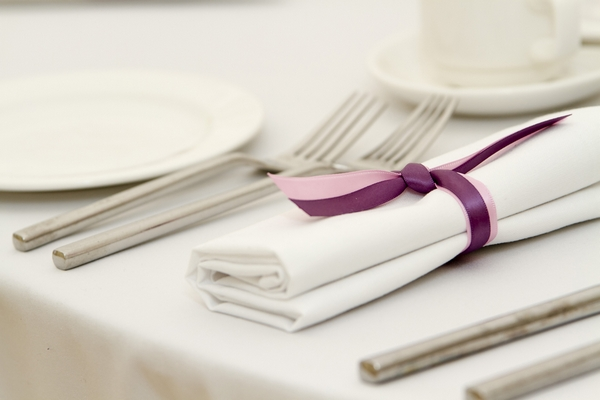 Napkin with purple ribbon