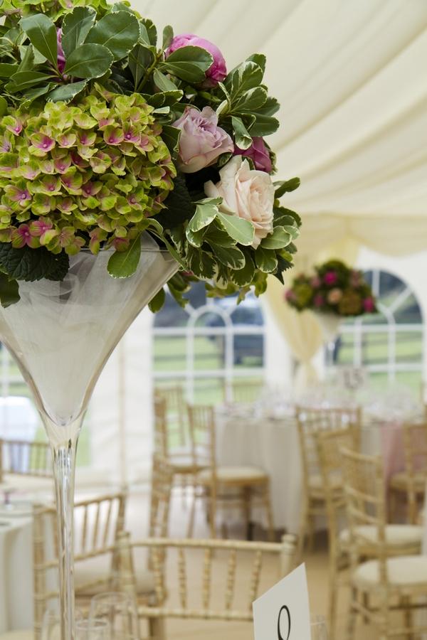 Large vase of wedding flowers