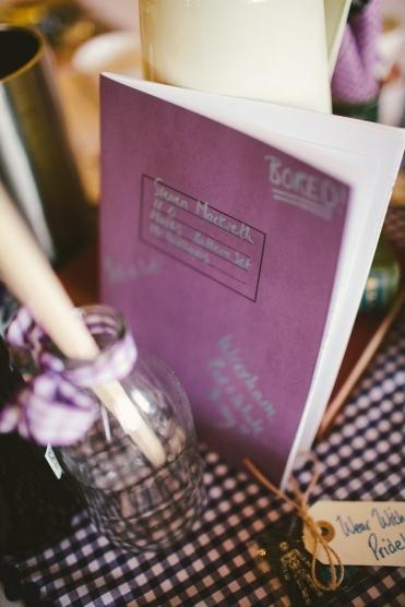 School book on wedding table
