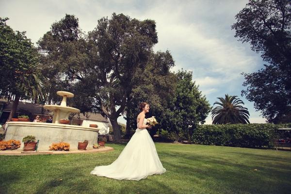 Bride walking to wedding ceremony