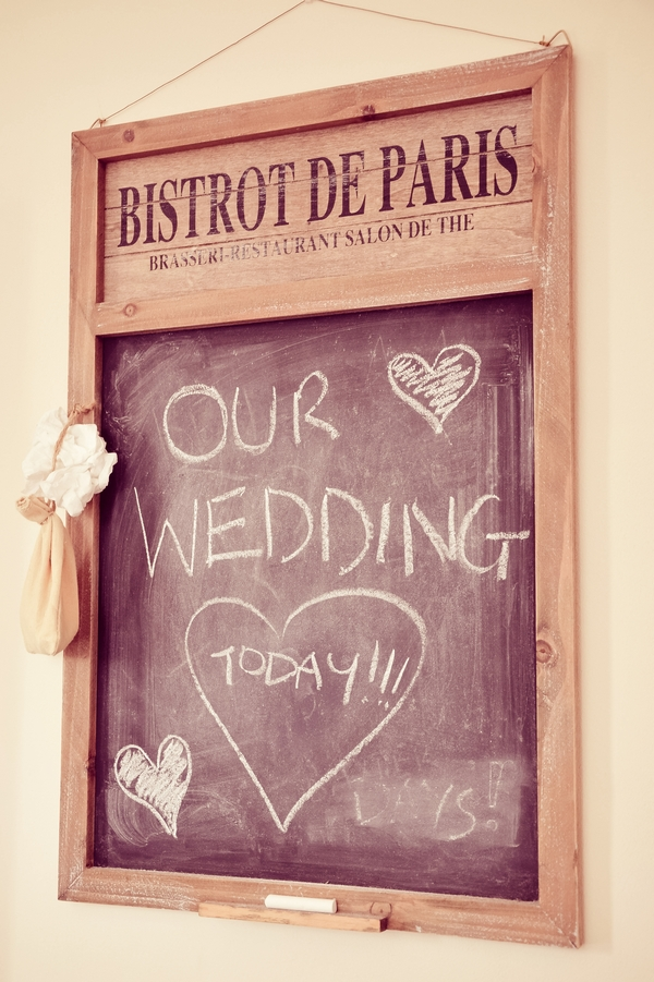 Our wedding day written on chalkboard