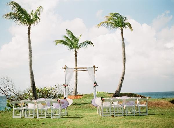 Beach wedding ceremony seating