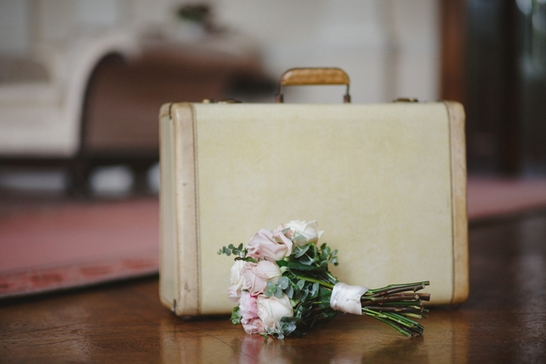 Suitcase and bouquet