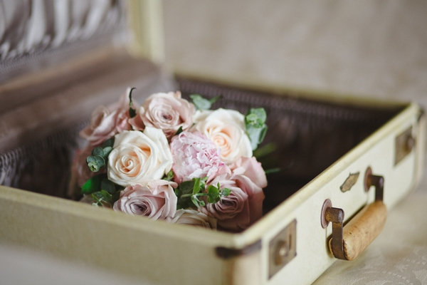 Bouquet in suitcase