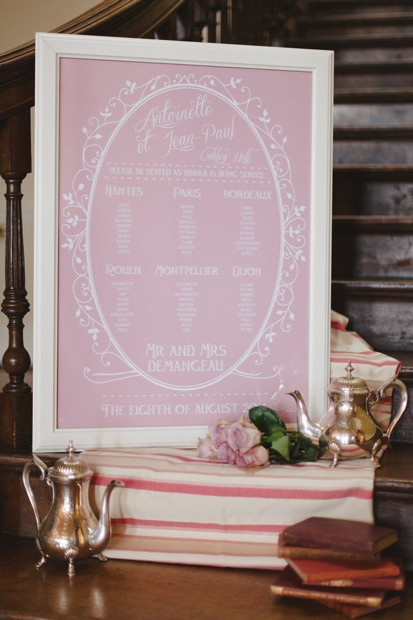 Pink wedding table plan