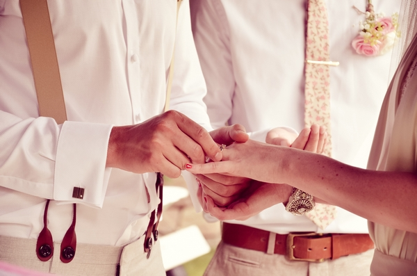 Groom putting wedding ring on bride's finger
