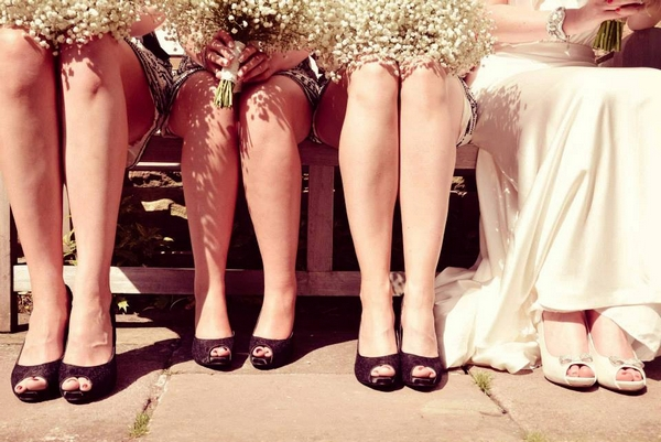 Bride and bridesmaids' legs