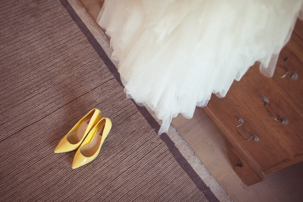 Yellow bridal shoes