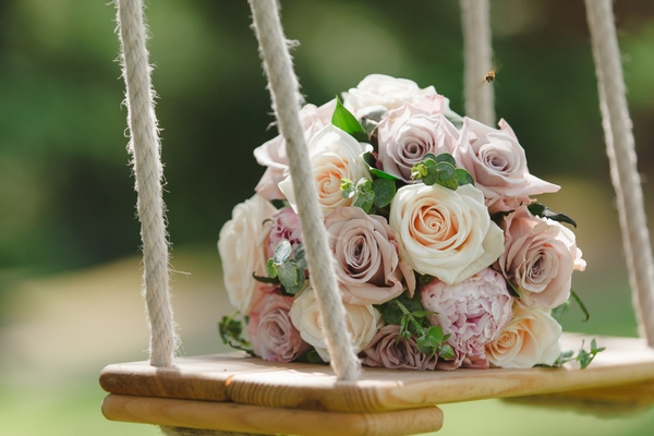 Bouquet on swing