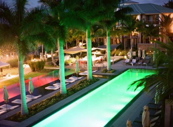 Swimming pool lit up at night