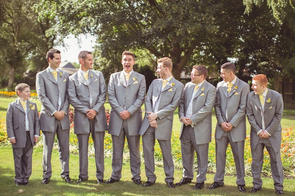 Groomsmen pulling faces