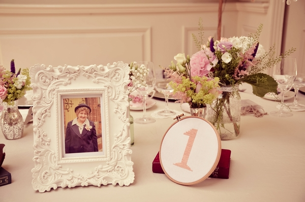 Embroidered wedding table number and photo
