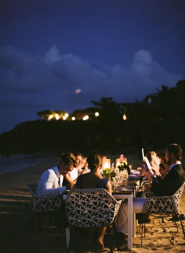 Wedding meal on beach at night