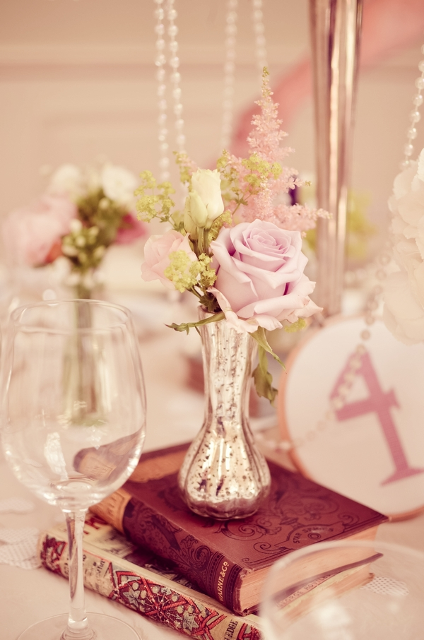 Flowers and wedding table number