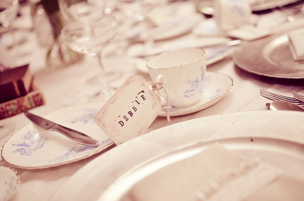 Vintage china on wedding table
