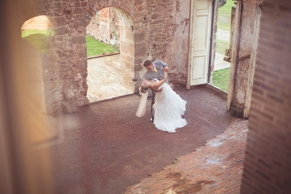 Bride and groom in Astley Castle