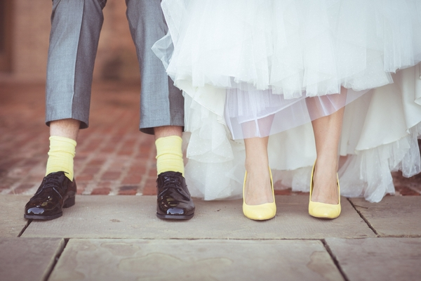 Bride's yellow shoes, groom's yellos socks
