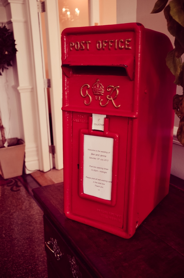 Small red post box wedding prop